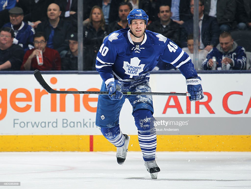 <a gi-track='captionPersonalityLinkClicked' href=/galleries/search?phrase=Troy+Bodie&family=editorial&specificpeople=2126082 ng-click='$event.stopPropagation()'>Troy Bodie</a> #40 of the Toronto Maple Leafs skates against the Calgary Flames during an NHL game at the Air Canada Centre on April 1, 2014 in Toronto, Ontario, Canada. The Leafs defeated the Flames 3-2.