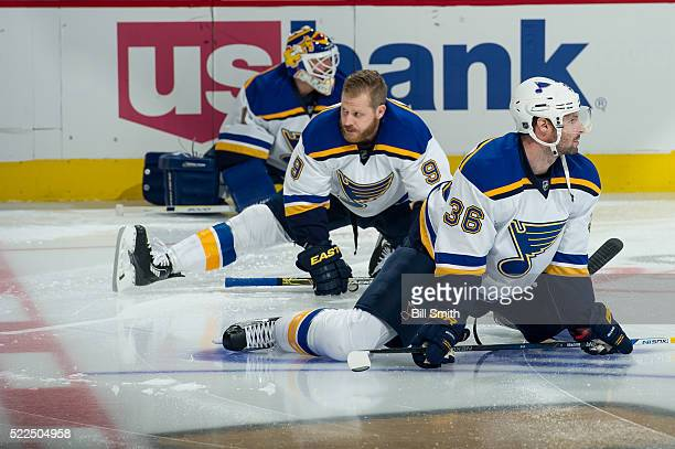 Troy Brouwer and Steve Ott of the St Louis Blues warm up prior to the start of Game Four of the Western Conference First Round against the Chicago...