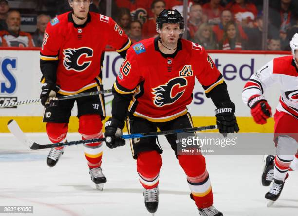 Troy Brouwer of the Calgary Flames skates against the Carolina Hurricanes at Scotiabank Saddledome on October 19 2017 in Calgary Alberta Canada