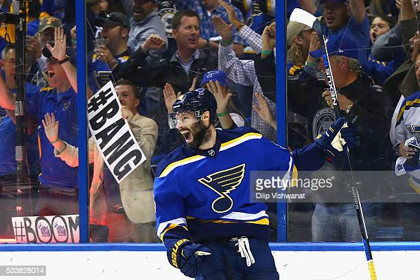 Troy Brouwer of the St Louis Blues celebrates scoring a first period goal against the San Jose Sharks in Game Five of the Western Conference Final...