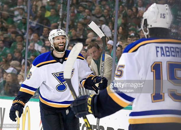Troy Brouwer of the St Louis Blues celebrates with Robby Fabbri of the St Louis Blues after scoring a goal against Kari Lehtonen of the Dallas Stars...