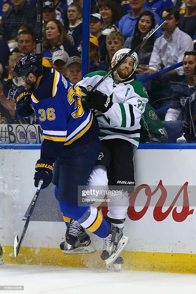 <a gi-track='captionPersonalityLinkClicked' href=/galleries/search?phrase=Troy+Brouwer&family=editorial&specificpeople=4155305 ng-click='$event.stopPropagation()'>Troy Brouwer</a> #36 of the St. Louis Blues checks <a gi-track='captionPersonalityLinkClicked' href=/galleries/search?phrase=Alex+Goligoski&family=editorial&specificpeople=791866 ng-click='$event.stopPropagation()'>Alex Goligoski</a> #33 of the Dallas Stars in Game Four of the Western Conference Second Round during the 2016 NHL Stanley Cup Playoffs at the Scottrade Center on May 5, 2016 in St. Louis, Missouri.