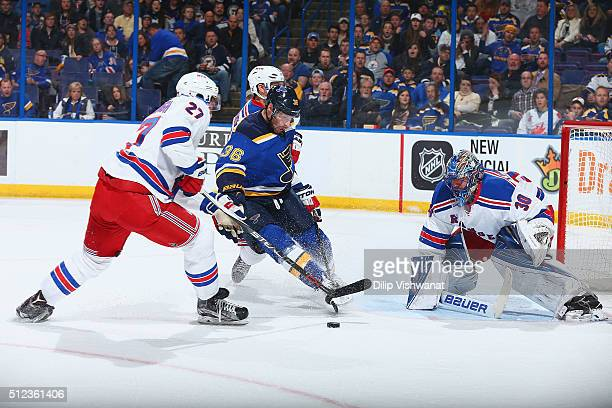 Troy Brouwer of the St Louis Blues looks to take a shot on goal against Henrik Lundqvist of the New York Rangers at the Scottrade Center on February...