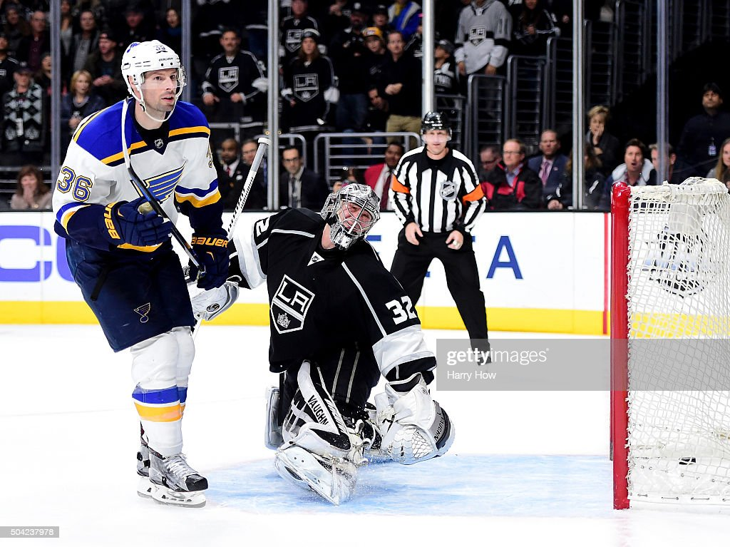 Troy Brouwer of the St Louis Blues scores an overtime shootout goal past Jonathan Quick of the Los Angeles Kings for a 21 win at Staples Center on...