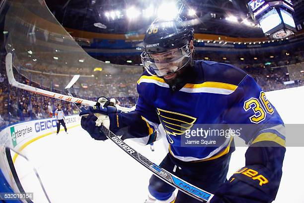 Troy Brouwer of the St Louis Blues skates during the second period against the San Jose Sharks in Game Two of the Western Conference Final during the...