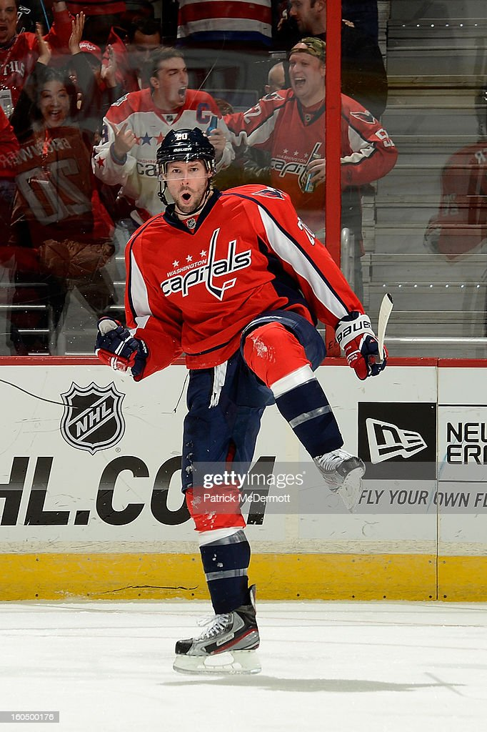 <a gi-track='captionPersonalityLinkClicked' href=/galleries/search?phrase=Troy+Brouwer&family=editorial&specificpeople=4155305 ng-click='$event.stopPropagation()'>Troy Brouwer</a> #20 of the Washington Capitals celebrates after his third period goal in an NHL hockey game against the Philadelphia Flyers at Verizon Center on February 1, 2013 in Washington, DC.