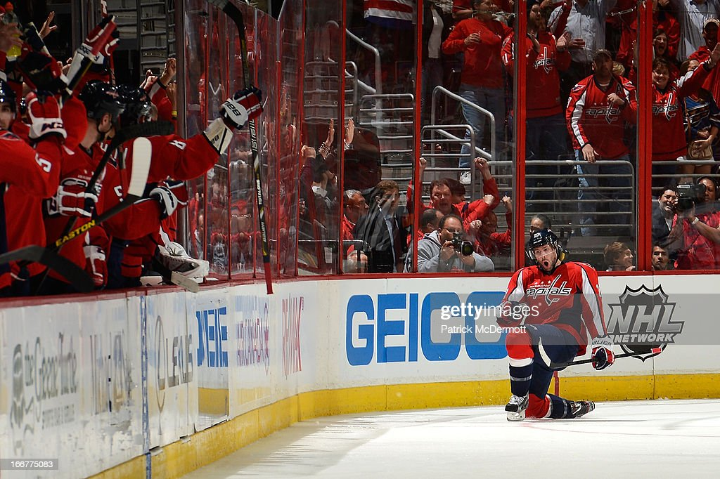 <a gi-track='captionPersonalityLinkClicked' href=/galleries/search?phrase=Troy+Brouwer&family=editorial&specificpeople=4155305 ng-click='$event.stopPropagation()'>Troy Brouwer</a> #20 of the Washington Capitals celebrates after scoring a goal during the second period of an NHL game against the Toronto Maple Leafs at Verizon Center on April 16, 2013 in Washington, DC.