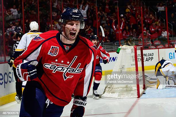 Troy Brouwer of the Washington Capitals celebrates after scoring a goal in the second period against the Nashville Predators during an NHL game at...