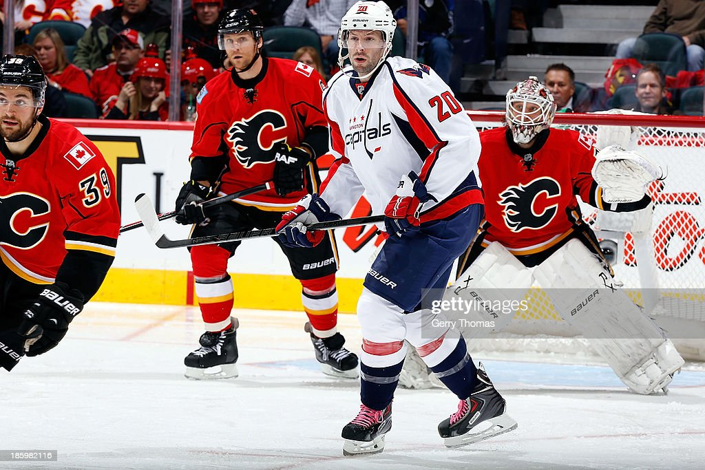 Troy Brouwer #20 of the Washington Capitals skates against the Calgary Flames at Scotiabank Saddledome on October 26, 2013 in Calgary, Alberta, Canada.