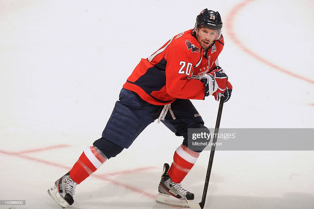 <a gi-track='captionPersonalityLinkClicked' href=/galleries/search?phrase=Troy+Brouwer&family=editorial&specificpeople=4155305 ng-click='$event.stopPropagation()'>Troy Brouwer</a> #20 of the Washington Capitals skates down ice during Game Three of the Eastern Conference Quarterfinals of the 2012 NHL Stanley Cup Playoffs against the Boston Bruins on April 16, 2012 at the Verizon Center in Washington, DC.