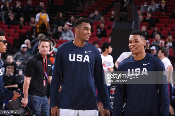 Troy Brown Jr #5 and Trevor Duval of the USA Junior Select Team chats against the World Select Team during the game on April 7 2017 at the MODA...
