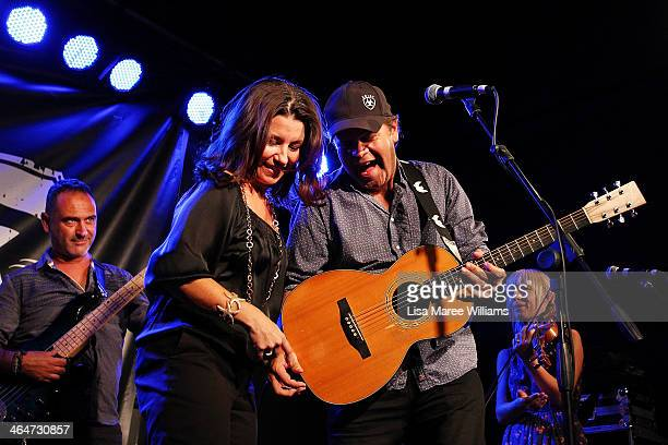 Troy CassarDaley and wife Laurel Edwards perform with Foggy Mountain Jam at the Longyard Hotel during during the 42nd Tamworth Coutry Music Festival...