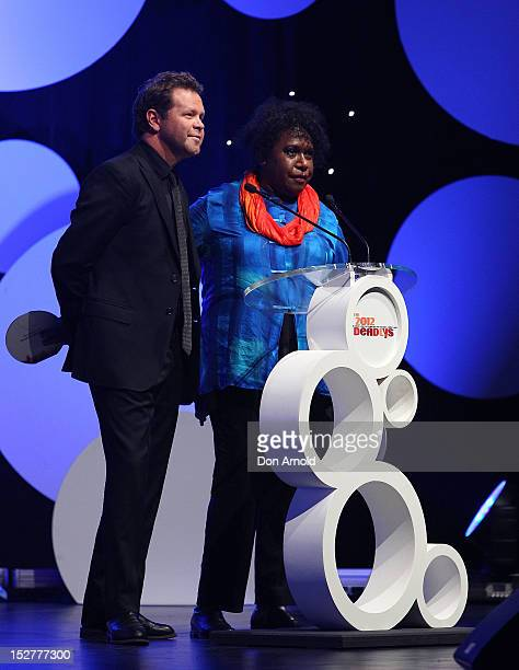 Troy CassarDaly and Gail Mabo are seen on stage at the 2012 Deadly Awards at the Sydney Opera House on September 25 2012 in Sydney Australia