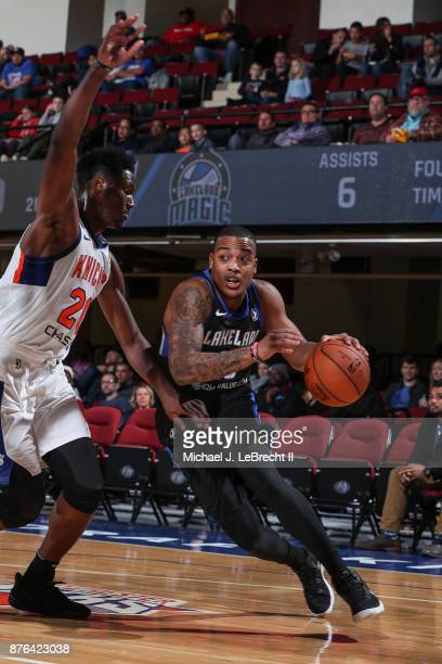 Troy Caupain of the Lakeland Magic Drives to the basket against the Westchester Knicks during an NBA GLeague game on November 19 2017 at Westchester...
