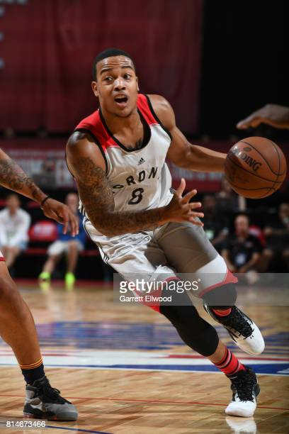 Troy Caupain of the Toronto Raptors handles the ball against the Cleveland Cavaliers on July 14 2017 at the Thomas Mack Center in Las Vegas Nevada...