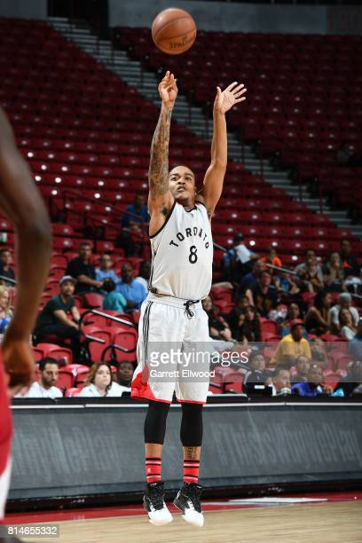 Troy Caupain of the Toronto Raptors shoots the ball against the Cleveland Cavaliers on July 14 2017 at the Thomas Mack Center in Las Vegas Nevada...