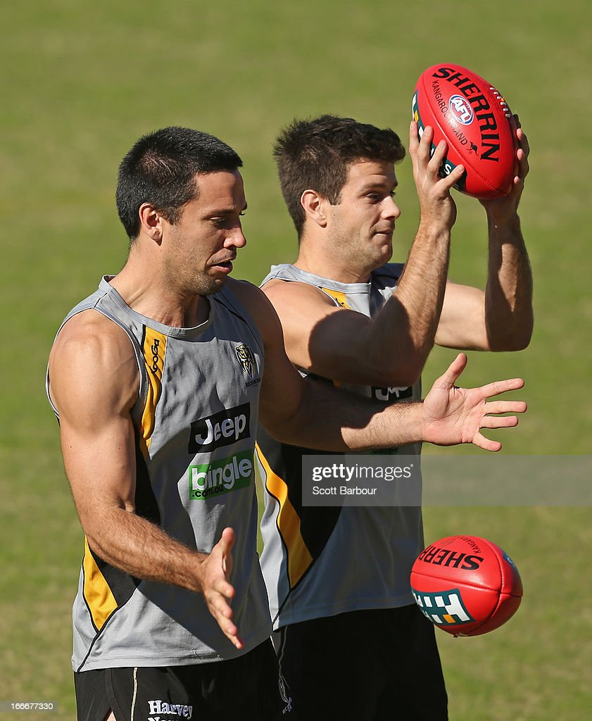 Troy Chaplin and Trent Cotchin of the Tigers compete for the ball during a Richmond Tigers AFL training session at ME Bank Centre on April 16, 2013 in Melbourne, Australia. (Photo by Scott Barbour/Getty Images