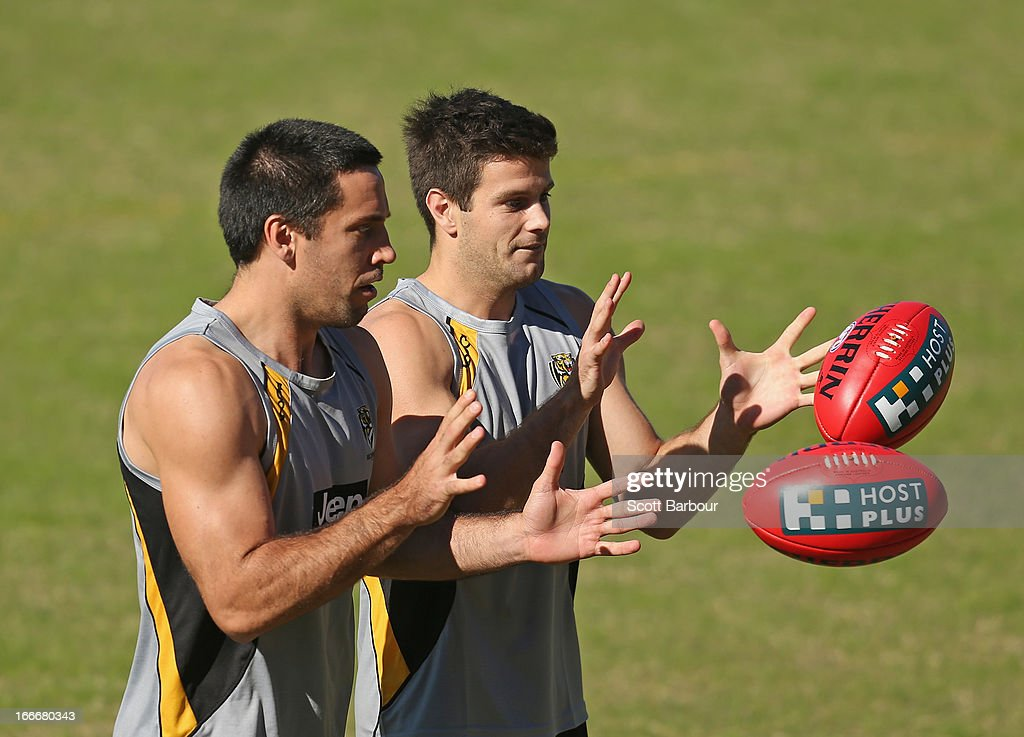 Troy Chaplin and Trent Cotchin of the Tigers compete for the ball during a Richmond Tigers AFL training session at ME Bank Centre on April 16, 2013 in Melbourne, Australia.