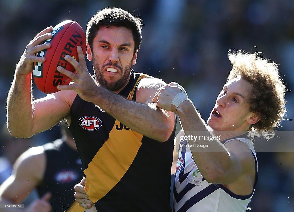 Troy Chaplin of the Tigers and Chris Mayne of the Dockers contest for the ball during the round 17 AFL match between the Richmond Tigers and the Fremantle Dockers at Melbourne Cricket Ground on July 21, 2013 in Melbourne, Australia.