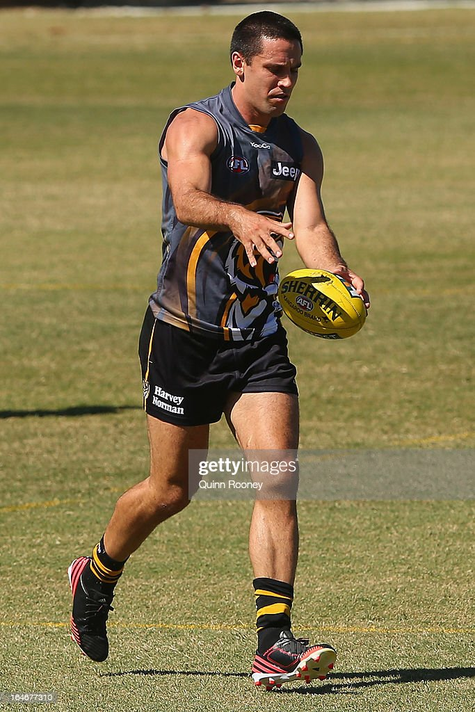 Troy Chaplin of the Tigers kicks during a Richmond Tigers AFL training session at ME Bank Centre on March 26, 2013 in Melbourne, Australia.