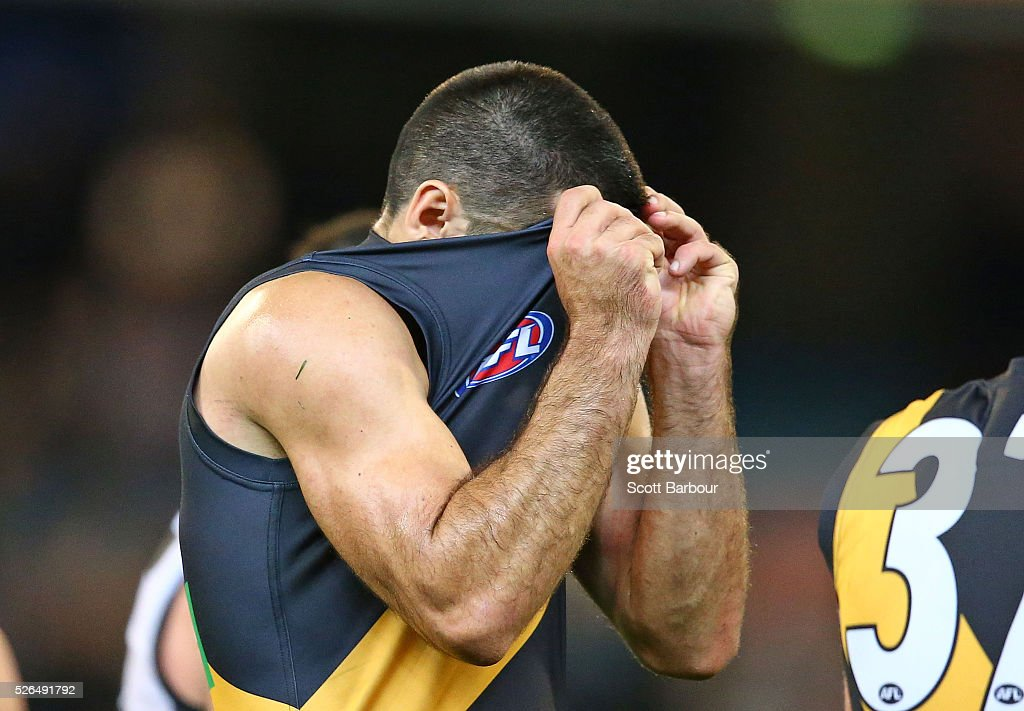 Troy Chaplin of the Tigers reacts at full time after losing the round six AFL match between the Richmond Tigers and the Port Adelaide Power at Melbourne Cricket Ground on April 30, 2016 in Melbourne, Australia.