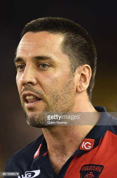 Troy Chaplin the assistant coach of the Demons talks to his players during the round one AFL match between the St Kilda Saints and the Melbourne...