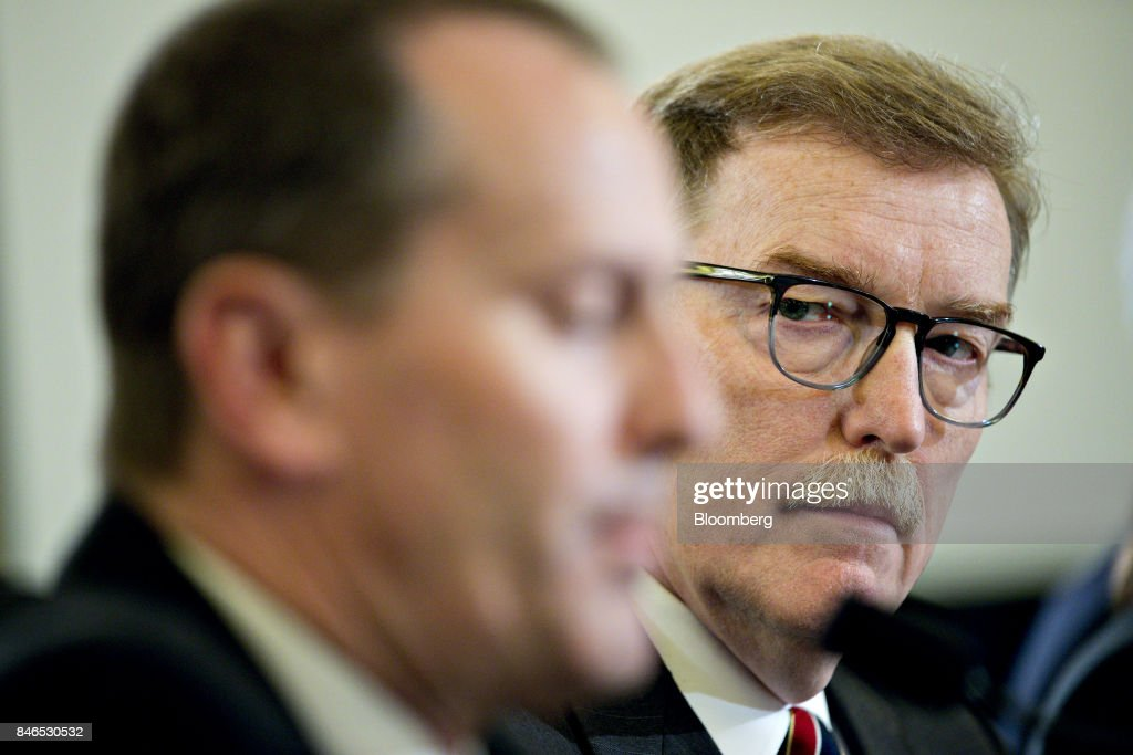 Troy Clarke, chief executive officer of Navistar Inc., right, listens during a Senate Commerce, Science, and Transportation Committee hearing in Washington, D.C., U.S., on Wednesday, Sept. 13, 2017. The hearing is titled, Transportation Innovation: Automated Trucks and our Nation's Highways. Photographer: Andrew Harrer/Bloomberg via Getty Images