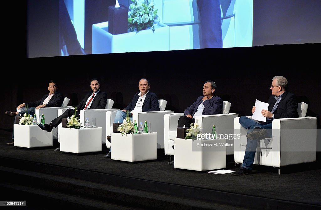 Troy Craig Poon, CEO of Perfect Storm Entertainment, Julien Khabbaz, Head of Investment Banking at FFA Private Bank, Khalil Benkirane and Sanjeev Lamba, CEO of Reliance Entertainment and moderator David Linde attend the Cinematic Innovation Summit ahead of the 10th Annual Dubai International Film Festival at Atlantis, The Palm Hotel on December 6, 2013 in Dubai, United Arab Emirates.