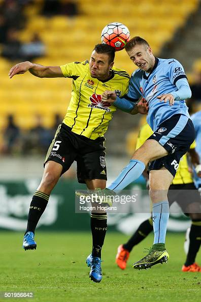 Troy Danaskos of the Phoenix and Andrew Hoole of Sydney FC compete for a header during the round 11 ALeague match between the Wellington Phoenix and...