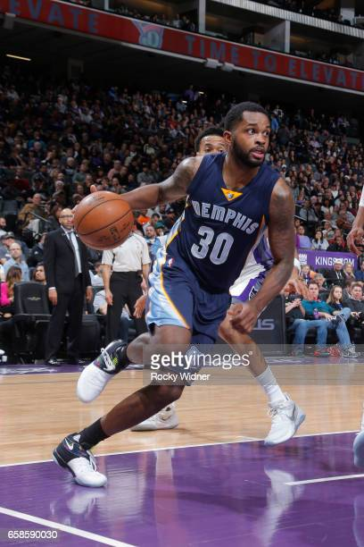 Troy Daniels of the Memphis Grizzlies handles the ball during a game against the Sacramento Kings on March 27 2017 at Golden 1 Center in Sacramento...