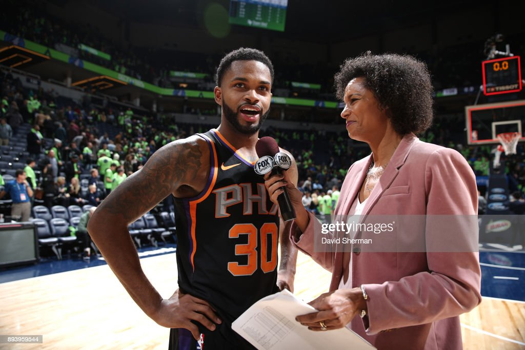 Troy Daniels #30 of the Phoenix Suns talks with media after the game against the Minnesota Timberwolves on December 16, 2017 at Target Center in Minneapolis, Minnesota.