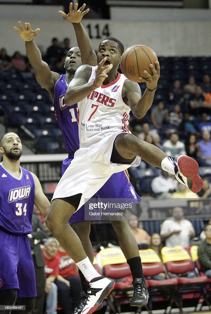Troy Daniels #7 of the Rio Grande Valley Vipers takes the ball to the basket against <a gi-track='captionPersonalityLinkClicked' href=/galleries/search?phrase=Curtis+Stinson&family=editorial&specificpeople=234919 ng-click='$event.stopPropagation()'>Curtis Stinson</a> #10 of the Iowa Energy on April 8, 2014 during game one first round of the 2014 NBA-Development League playoffs at the State Farm Arena in Hidalgo, Texas.