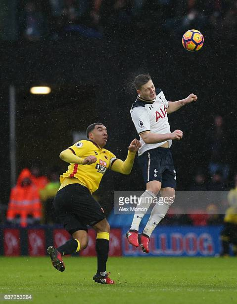Troy Deeney of Watford and Kevin Wimmer of Tottenham during the Premier League match between Watford and Tottenham Hotspur at Vicarage Road on...