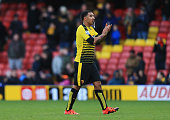 Troy Deeney of Watford applauds the supporters after the 12 defeat in the Barclays Premier League match between Watford and Manchester United at...