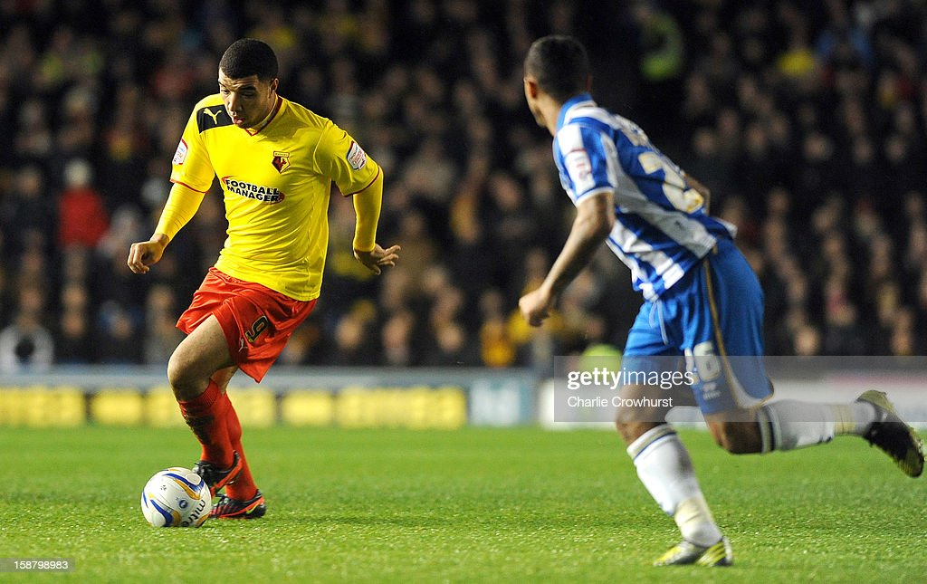 Troy Deeney of Watford attacks during the npower Championship match between Brighton & Hove Albion and Watford at The Amex Stadium on December 29, 2012 in Brighton England.
