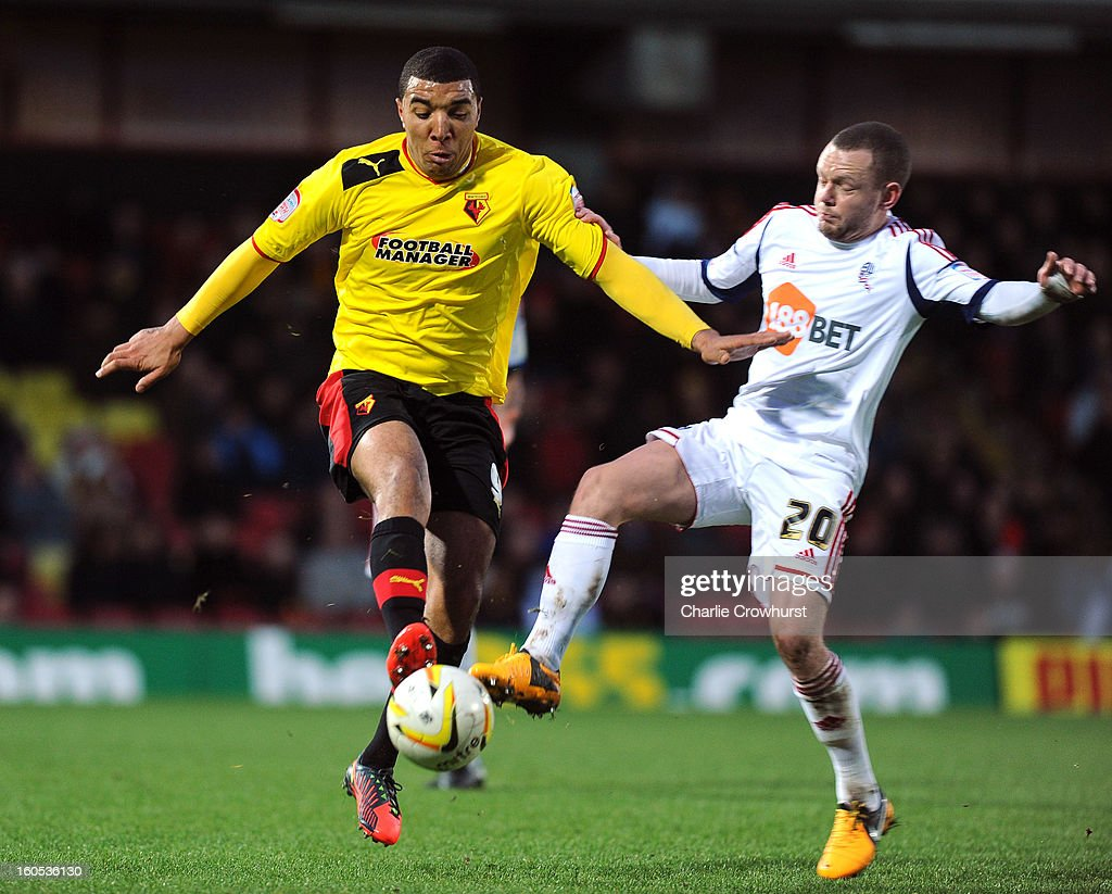 Troy Deeney of Watford attacks during the npower Championship match between Watford and Bolton Wanderers at Vicarage Road on February 02, 2013 in Watford England.