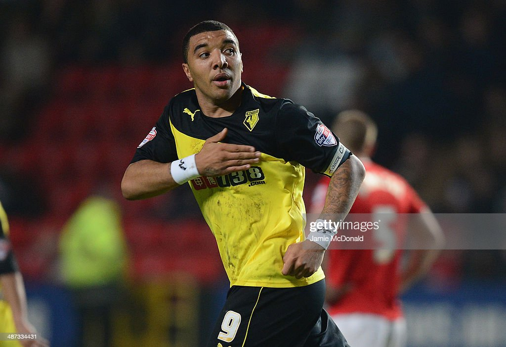 Troy Deeney of Watford celebrates his goal during the Sky Bet Championship match between Charlton Athletic and Watford at The Valley on April 29, 2014 in London, England.