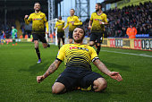 Troy Deeney of Watford celebrates scoring his team's second goal during the Barclays Premier League match between Crystal Palace and Watford at...