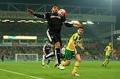 Troy Deeney of Watford controls the ball during the Barclays Premier League match between Norwich City and Watford at Carrow Road on May 11 2016 in...