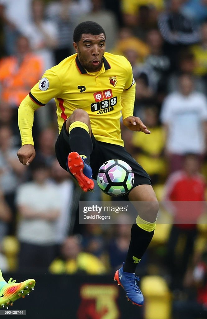 Troy Deeney of Watford controls the ball during the Premier League match between Watford and Arsenal at Vicarage Road on August 27, 2016 in Watford, England.