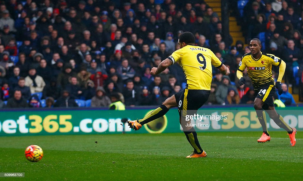 <a gi-track='captionPersonalityLinkClicked' href=/galleries/search?phrase=Troy+Deeney&family=editorial&specificpeople=4698410 ng-click='$event.stopPropagation()'>Troy Deeney</a> of Watford converts the penalty to score his team's first goal during the Barclays Premier League match between Crystal Palace and Watford at Selhurst Park on February 13, 2016 in London, England.