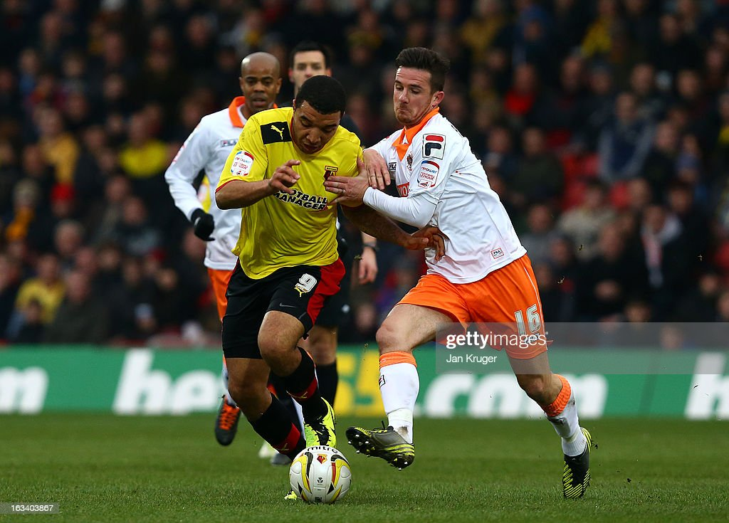 Troy Deeney of Watford is fouled by Barry Ferguson of Blackpool during the npower Champions match between Watford and Blackpool at Vicarage Road on...