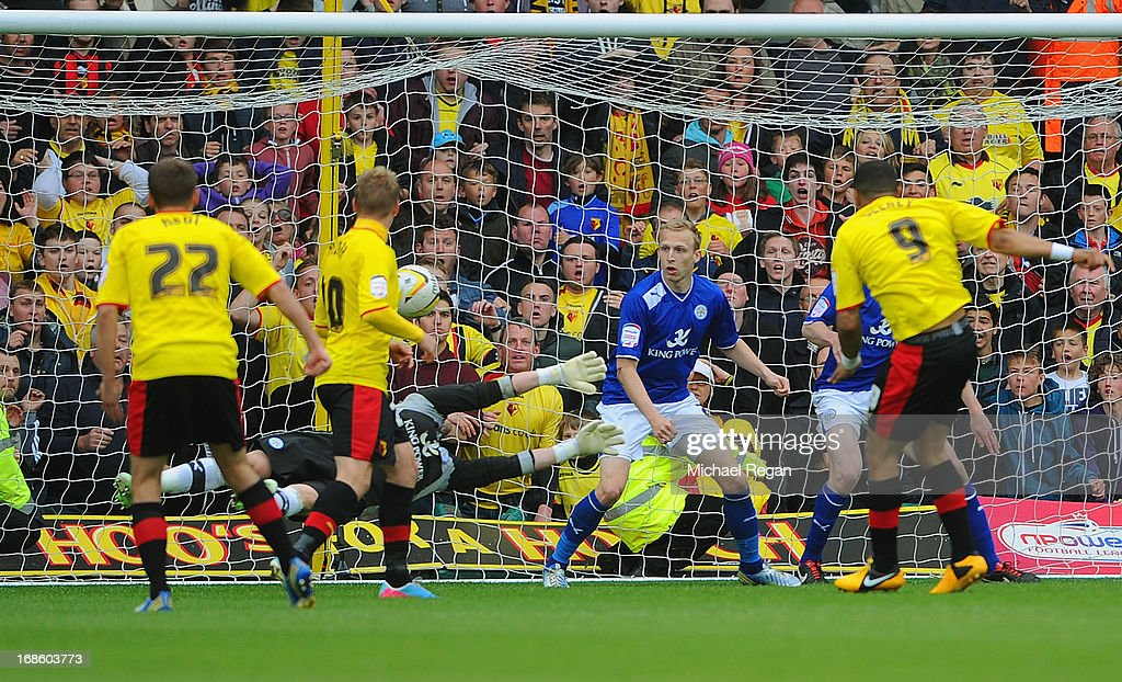 Troy Deeney of Watford score the winning goal during the npower Championship Play Off Semi Final: Second Leg between Watford and Leicester City at Vicarage Road on May 12, 2013 in Watford, England.