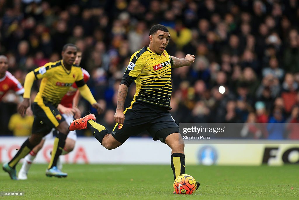 Troy Deeney of Watford scores his team's first goal from the penalty spot during the Barclays Premier League match between Watford and Manchester United at Vicarage Road on November 21, 2015 in Watford, England.