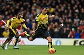 Troy Deeney of Watford scores his team's first goal from the penalty spot during the Barclays Premier League match between Watford and Manchester...