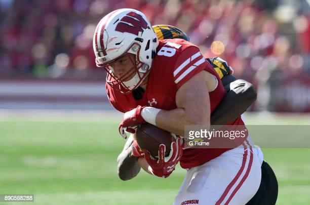 Troy Fumagalli of the Wisconsin Badgers catches a pass against the Maryland Terrapins at Camp Randall Stadium on October 21 2017 in Madison Wisconsin