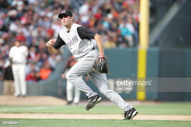 Troy Glaus of the Arizona Diamondbacks fields during the game against the San Francisco Giants at SBC Park on June 23 2005 in San Francisco...