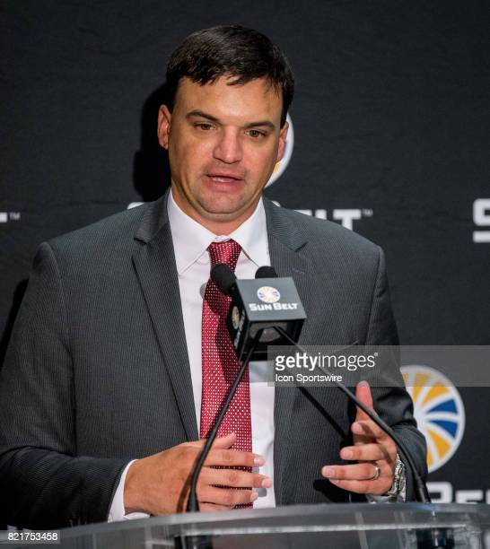 Troy head coach Neal Brown interacts with media during the Sun Belt Media Day on July 24 2017 at the MercedesBenz Superdome on