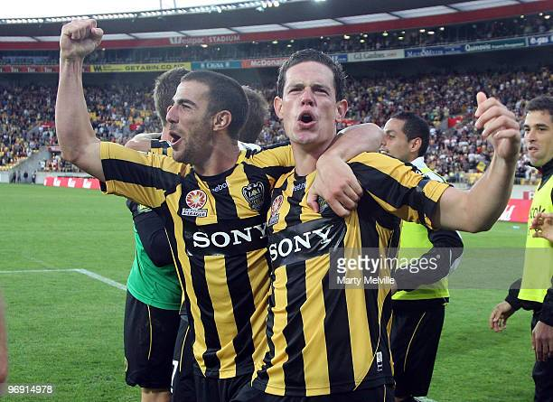 Troy Hearfield and Manny Muscat of the Phoenix celebrate their win after the Aleague Semi Final match between the Wellington Phoenix and Perth Glory...