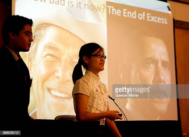 Troy High School student Stacy Suh and Saumil Maheshvarileft during their teams powerpoint presentation during Capital Markets Contest May 25 2009...